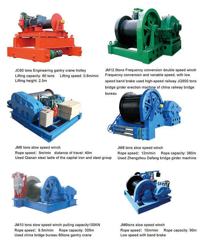 JM slow speed winches